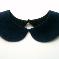 Casual Autumn Style Navy Blue Handmade Detachable Collar Necklace with Black Button Closure