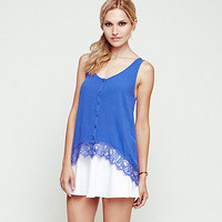 Lace Hem Hi Low Tank