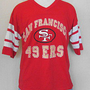 VTG 80s SAN FRANCISCO 49ers NFL Logo 7 LARGE Rice Montana JERSEY STYLE T-SHIRT