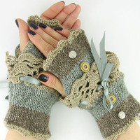 Knit fingerless gloves arm warmers fingerless mittens fall winter grey brown tweed beige lace romantic victorian therougett curationnation