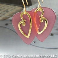 Breast Cancer Awareness pink earrings with gold heart charm. BCA5