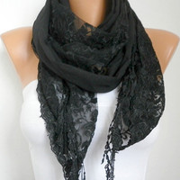 Black Scarf -  Cowl with Lace Edge