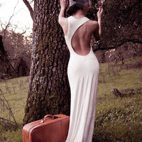 Cream Asymmetrical Open Back Jersey Grecian Maxi Dress (Sustainable)