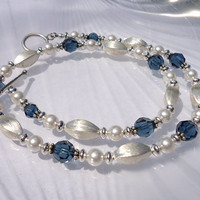 Beaded Brushed Sterling Silver Necklace, Swarovski Crystal Necklace, Blue and White Pearl Swarovski Crystals