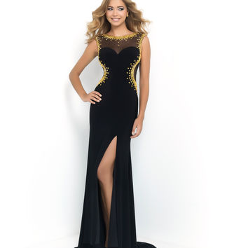 Preorder - Blush Prom Black & Gold Sheer Mesh Cut Out Side Studded Jersey Dress Prom 2015