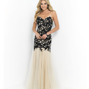 Preorder - Blush Prom Black & Nude Spaghetti Strap Beaded Lace Bodice Tulle Skirt Gown Prom 2015