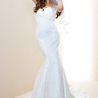 Drape Top Lace Mermaid Bridal Gown - Rami Kashou