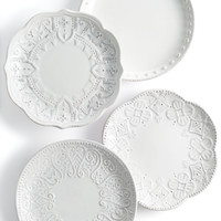Maison Versailles Blanc Set of 4 Assorted Appetizer Plates