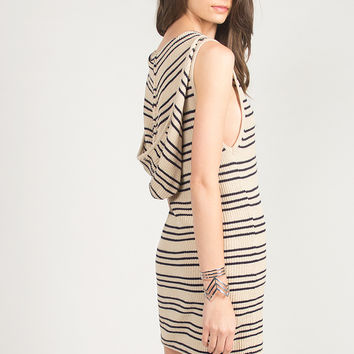 Striped Knitted Hoodie Tank Dress - Taupe/Navy /