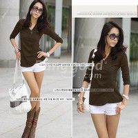 Korea Women Casual Long Sleeve T-shirt Tops Blouse Free Shipping!  - US$10.39