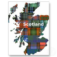 Scotland Map Multi Tartan Postcard from Zazzle.com