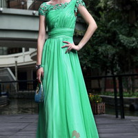 A-line Scoop Floor-length Chiffon Green Dress With Pleating at Msdressy
