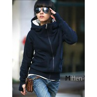 Ladies Blue Cotton Blends Hooded Zipped Warm One Size Outfit@H4076