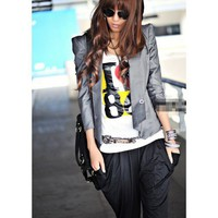 Women Black Puff  3/4Long Sleeve Two Buttons Flare Hem Slim Cotton Suit S/M/L@A5001b