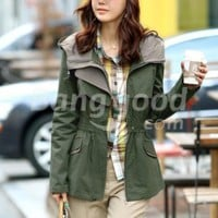 Fashionable Slim Waist Long Sleeve Trench Women's Coat Free Shipping!  - US$21.55
