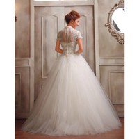 Tulle A-Line Gown Round Neckline Short Sleeve With Beaded Bodice Style @YSP40000-7