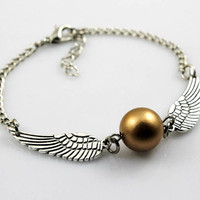 Harry potter Golden Snitch Bracelet, Silver Double sided wings