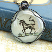 Unicorn Necklace - wire wrapped glass pendant - unicorn jewelry