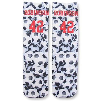 Full Print Soccer Ball Pattern Custom Socks Personalized  - Adult Unisex Size fits Most