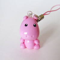 Pink Hippo Cell Phone Charm