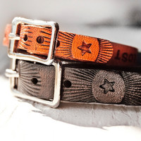 His and Hers - 2 Custom Text Leather bracelets with silver buckles - stamped bands - made to order - friendship, family