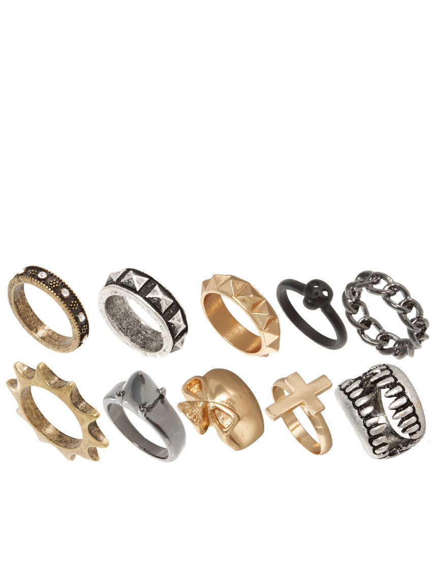 ASOS Skull Fangs Mega Ring Pack at asos.com