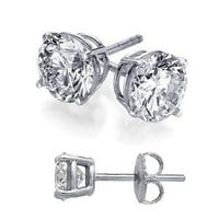 Cubic Zirconia Stud Earrings 3 Carat Total Weight Diamond Color Cz Set on Heavy 925 Sterling Silver Stud Basket Setting,Nickel Free Earrings Includes Gift Packaging: Jewelry