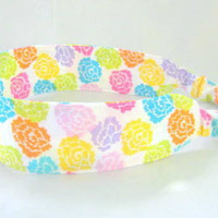 Rainbow of Roses Headband Fabric Headband - Adjustable Elastic - Pink Yellow Orange Purple Green Turquoise Floral
