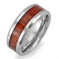 Tungsten Carbide Men's Ladies Unisex Ring Wedding Band 8MM (5/16 inch) Flat Beveled Edges Shiny Wood Inlay Comfort Fit (Available in Sizes 8 to 12): Jewelry
