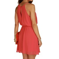 Pink Coral Soft Pleats Dress