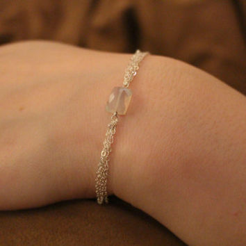 Chain Bracelet with Moonstone Faceted Bead- Stacked Chain