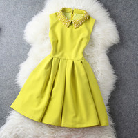 Dress in Yellow with Pearl Beaded Collar