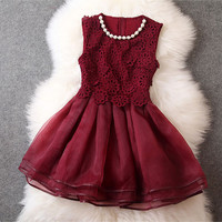 Embroidered Beaded Dress in Red