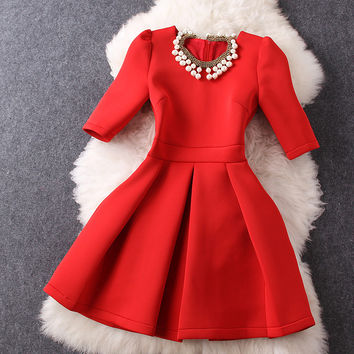 Pearl Beaded Dress in Red