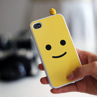 iPhone 4 Case with LEGO Toy Cap Smily Face