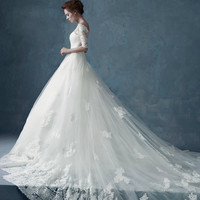 Luxurious Cathedral Off the Shoulder Short Sleeve White Lace Wedding Dress