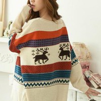 Loose Vintage Adorable Deer Sweater Off White S000394