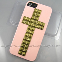 IPhone 5 case,Pink Cross Studded iPhone 5 Case,Bronze Pyramid Studs iPhone Case