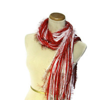 Red and White Fringe Scarf  School Colors