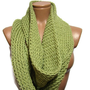 mufflers off knitting  skewers Knitted infinity Scarf. Block Infinity Scarf. Loop Scarf, Circle Scarf, Neck Warmer.pistachio green