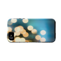 Iphone 5 Case- Blue Iphone Case-Holiday, Winter Blue, Bokeh, Iphone 5, Iphone 5 Cover, Holidays, Yellow, Gold, Cobalt Blue