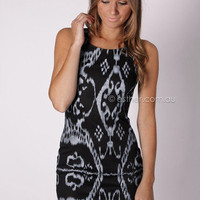 Cyprus cocktail dress - black/grey print at Esther Boutique