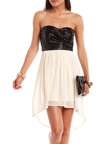 Sequin Chiffon Tube Dress: Charlotte Russe