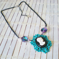 Cameo Necklace Peacock Green Purple Black Upcycled Fashion by RetroRevivalBoutique