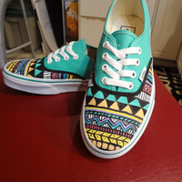 Hand Painted Aztec Vans MADE TO ORDER