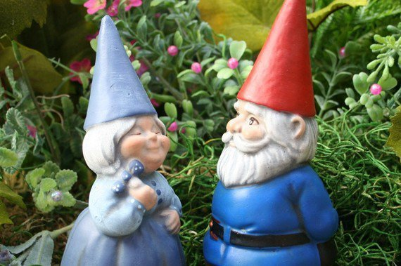 Concrete Art Garden Gnome Couple From Phenomegnome On Etsy