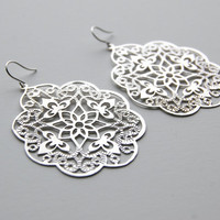 Large White Gold Filigree Earrings, gift, mother, mom, sister, friend, anniversary gift, wedding jewelry, birthday gift, everyday fashion