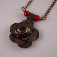 Autumn Flower copper metal Necklace
