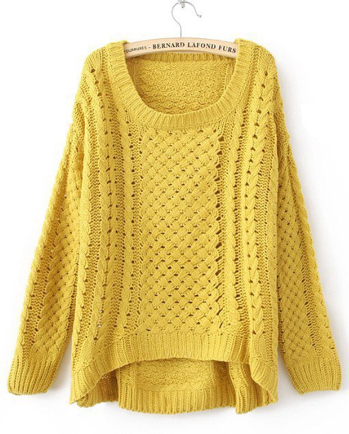 Yellow Round Neck Long Sleeve Hollow Sweater - Sheinside.com