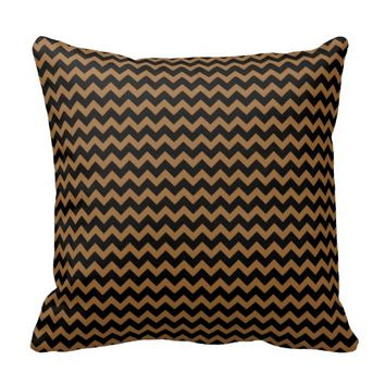 Black and Caramel Brown Chevron zigzag Cushion